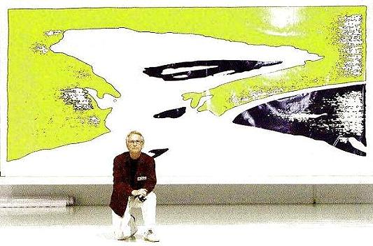 The Artist Ture Sjolander 17 September 2004 in front of his electronic painting TIME from 1966